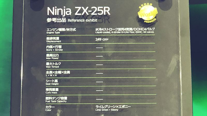 東京モーターショー2019 カワサキ ZX-25R 水冷4ストローク並列四気筒